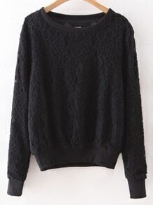 Black Rib-knit Cuff Lace Sweatshirt