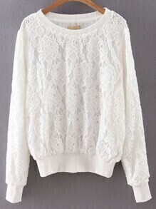 White Rib-knit Cuff Lace Sweatshirt