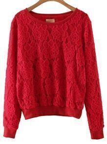 Red Rib-knit Cuff Lace Sweatshirt