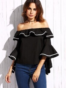 Black Striped Trim Off The Shoulder Ruffle Top