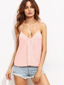 Pink Draped Halter Neck Top