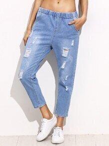 Blue Ripped Bleach Wash Elastic Waist Ankle Jeans