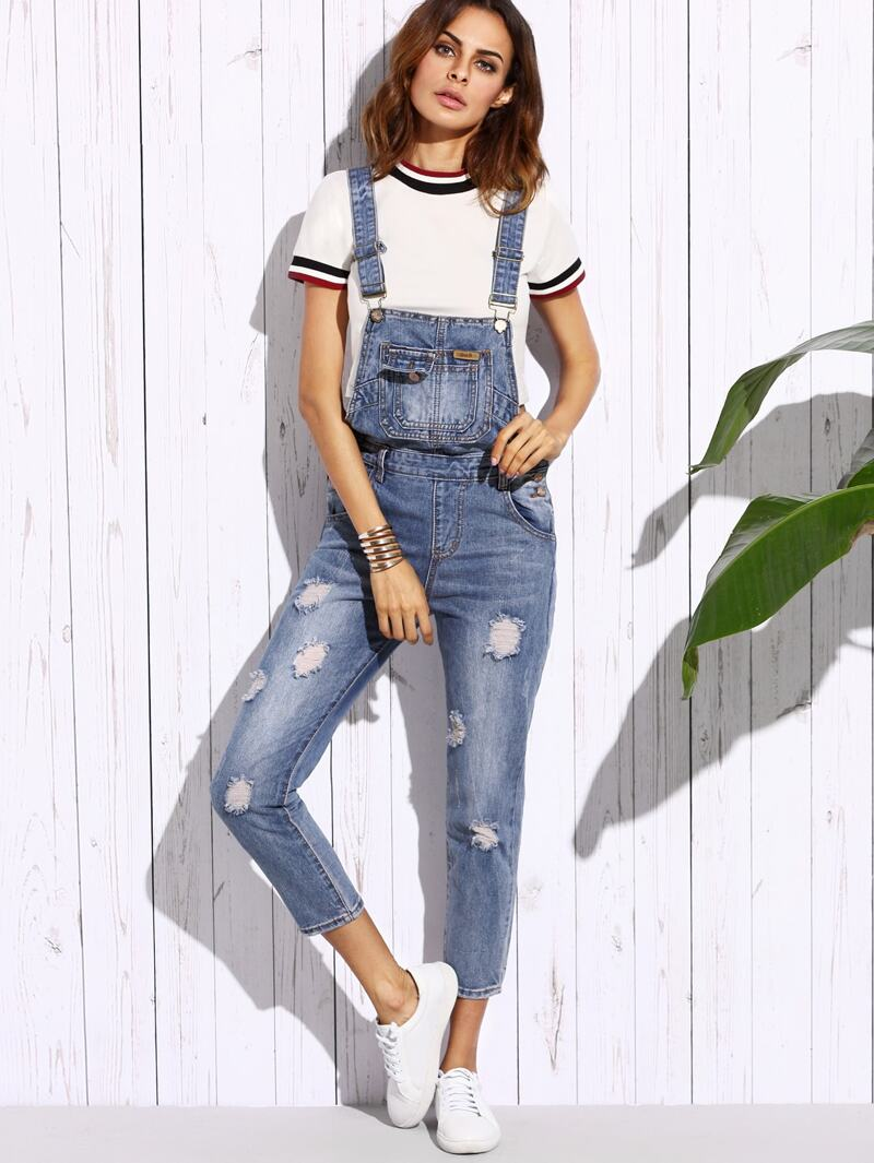 ee6601ffa Blue Ripped Bleach Wash Overall Jeans | ROMWE