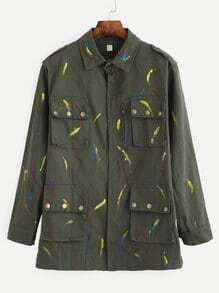 Olive Green Brush Stroke Print Multi PocketOuterwear