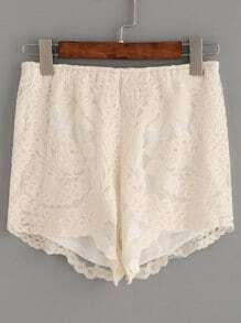 Beige Embroidered Mesh Shorts