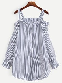 Navy Striped Button Front Cold Shoulder Blouse