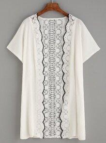 White Scalloped Crochet Trim Kimono