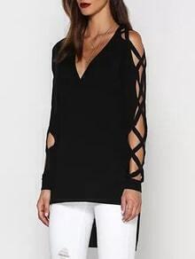 Camiseta bajo asimétrico manga de tiras cruzadas - negro