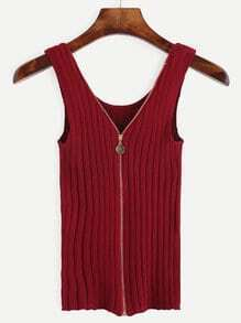 Burgundy Zip Front Ribbed Knit Tank Top