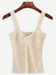Beige Twist Front Ribbed Knit Tank Top