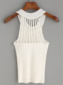 White Caged Back Ribbed Knit Halter Neck Top
