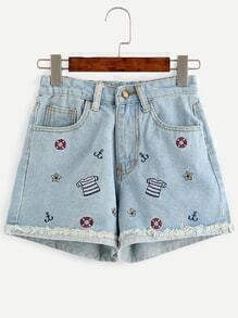 Blue Embroidered Frayed Roll Hem Denim Shorts