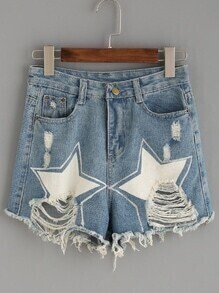Blue Star Print Ripped Raw Hem Denim Shorts