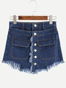 Blue Button Front Frayed Wrap Denim Shorts