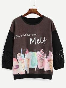 Brown Ice Cream Print Lace Insert Drop Shoulder Sweatshirt