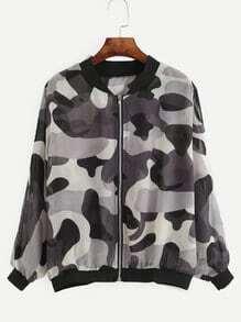 Grey Camo Print Chiffon Bomber Jacket