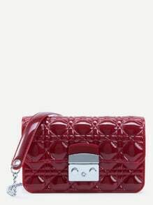 Red Quilted Plastic Flap Bag With Chain Strap