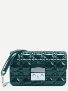Green Quilted Plastic Flap Bag With Chain Strap