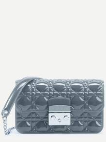 Grey Quilted Plastic Flap Bag With Chain Strap