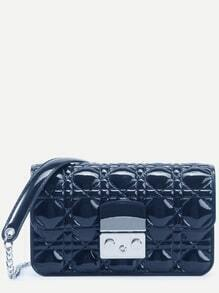 Navy Quilted Plastic Flap Bag With Chain Strap