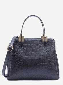 Black Crocodile Embossed Layered Satchel Bag