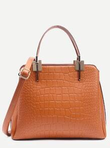 Camel Crocodile Embossed Layered Satchel Bag