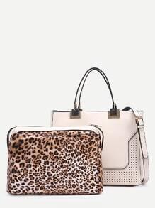 White Laser Cut Satchel Bag With Leopard Makeup Bag