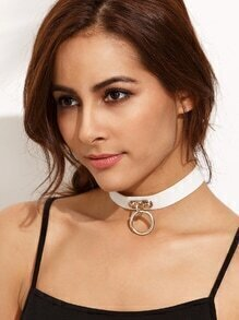 White Ring Pendant Buckle Choker