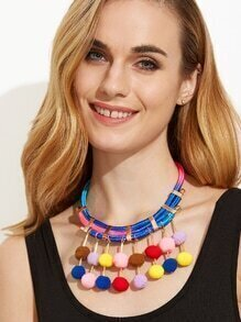 Multicolor Pom Pom Pendant Statement Necklace