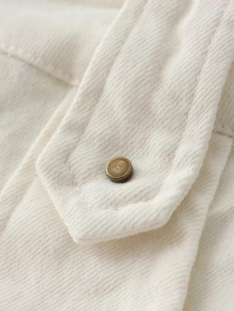 white buttons front pockets a line skirt