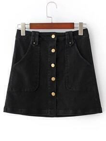 Black Buttons Front Pockets A-Line Skirt