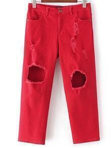 Red Knee Ripped Pockets Pants