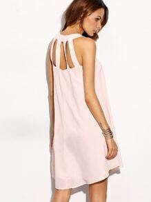 Pink Caged Back Swing Tank Dress