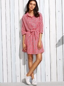 Red Checkerboard Tie Front Shirt Dress