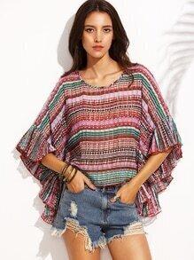 Multicolor Tribal Print Lattice Back Flutter Sleeve Top