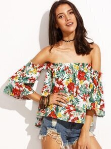 Multicolor Tropical Print Off The Shoulder Top