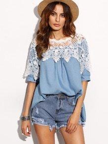 Blue Contrast Lace Applique Top
