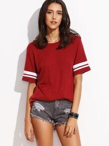 Burgundy Striped Trim Varsity T-shirt