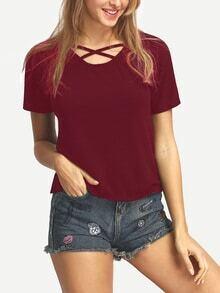 Burgundy Lattice Neck T-shirt