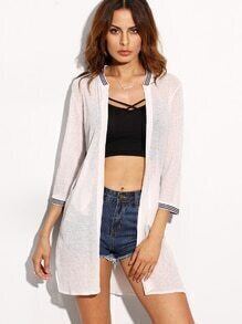 White Striped Trim Cardigan