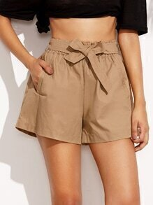Khaki Self Tie Wide Leg Shorts