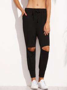 Black Knee Ripped Drawstring Peg Pants