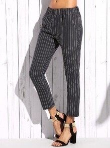 Grey Vertical Striped Skinny Pants