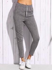 Grey Drawstring Skinny Pants