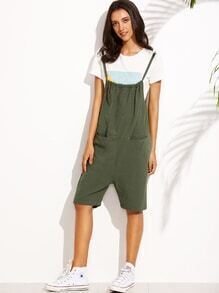 Olive Green Drop Crotch Cami Romper