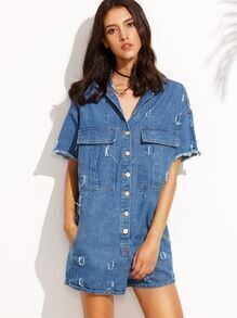Blue Button Front Frayed Denim Playsuit