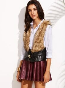 Black Buckle Strap Front Faux Leather and Fur Vest