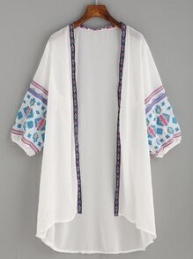 White Embroidered Tape Detail Chiffon Kimono