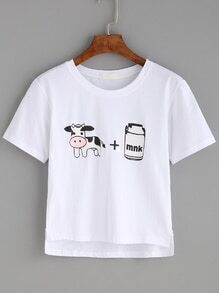 White Cartoon Print High Low T-shirt
