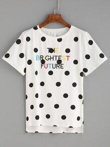 White Polka Dot Dip Hem Embroidered T-shirt